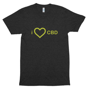 I Love CBD (English) – Tri-Blend Black T-Shirt